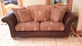 Brown Leather and fabric large two seater