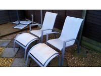 **Garden chairs with footrests**