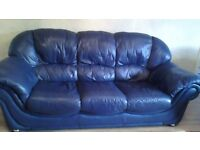 LEATHER SOFA PLUS TWO CHAIRS