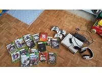 Xbox 360 including 16 games, 3 controllers wireless adapter, gaming headphones