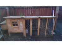 Complete chicken coop set up including 3 chickens