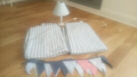 John Lewis nursery items - curtains, light and bunting