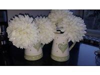 Green Cream ceramic jug & flowers