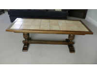Large Oak Coffee Table with Tiled Top