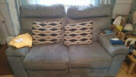 2 x faux suede electric reclining sofas