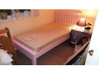 Pink Single Bed - solid pine wood single bed painted pink, complete with hypoallergenic mattress.