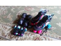 Girls size 4 roller skates and matching pads brand new from John Lewis
