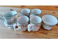 Johnson Bros Eternal Beau Tea Set - 4 Mugs, Milk Jug, Sugar Bowl - Vintage