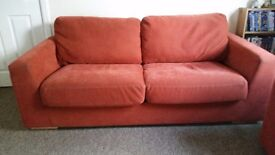 3 seater sofa and 2 large cuddle chairs. Removable cover, machine washable., in good condition.