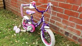 12 inch kids bike Raleigh Krush with mudguards and unused stabilisers