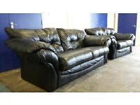 BLACK LEATHER 2 SOFAS SET 3 SEATER SOFA & 2 SEATER SOFA / SETTEE / SUITE DELIVERY AVAILABLE