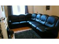 6 seater corner faux leather sofa