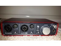 Focusrite Scarlett 2i2 audio interface.