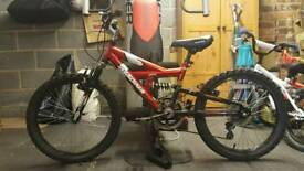 Boys dual suspension bike with gears and like new tyres. Offers invited!