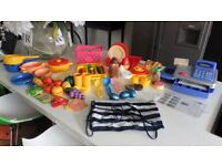 BUNDLE OF EARLY LEARNING CENTRE CASH MACHINE + TOY FOOD & ACCESSORIES