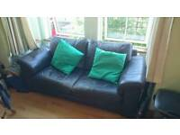 Brown 2 Seater Leather Sofa / Settee