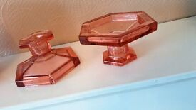 GLASS CANDLE STICKS REVERSIBLE TEALIGHTS AND CANDLES HOME DECOR
