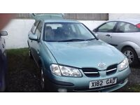 Nissan Almera 1.8 twin cam No MOT spares. New exhaust, good engine, some good tyres, alloy wheels.