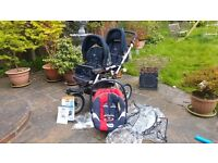 Jane Powertwin pram. Raincover, carseat and adapters to attach car seat to pram. + User manual