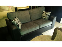 EX-DISPLAY BLACK/GREY QUALITY CHENILLE SUEDE 3 SEATER SOFA + SCATTER CUSHIONS