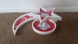New Wooden Crescent Plate with Circle and Star Stand Plate for Sweets