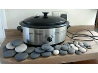 Hot Stone Therapy Heater and Full Set of Basalt Stones For Sale