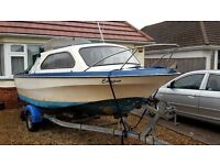 18ft Shetland Fishing Boat with 60hp Outboard and Snipe Roller Trailer