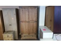 GREAT CONDITION! 2 door stained line wardrobe with built in rail and large drawer for storage