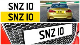 SNZ 10 Personalised Number Plate Audi BMW Volvo Ford Evo Subaru Honda Toyota Kia GTI M3 RS