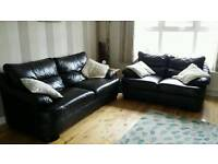 3+2 seater sofa in black leather £250 delivered