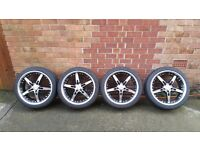 Ford focus 5 stud 18 inch alloy wheels and tyres