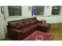 Red Corner L Shape Sofa Leather Corner Curved Suite Burgundy Maroon Dark Deep Red Endurance RRP£1299