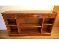 Regency style polished wood storage unit bookcase sideboard.