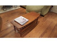 Vintage Retro Ercol Style Coffee Table with Shelf Two Teir Danish Inspired Teak Style