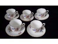 Set of Five Vintage Salisbury Bone China Cups and Saucers