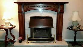 Mantlepiece and marble back plate and hearth