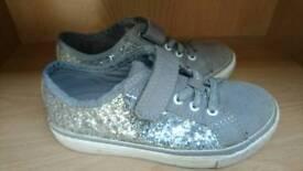 Clarkes silver glittery shoes