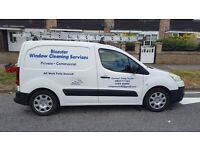 Window cleaning van with sytem