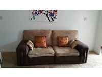 LARGE LIGHT BROWN CHENILLE FABRIC SOFA FOR SALE.