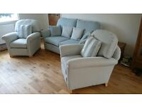 Settee and two armchairs. Hand made. Excellent condition. Duck egg blue and cream.