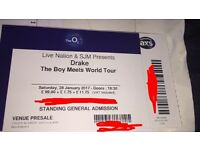 Drake tickets standing 20th March 2017!