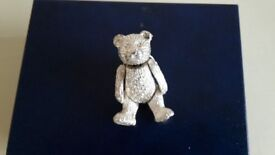 Silver teddy bear pin brooch. Moving head arms and legs