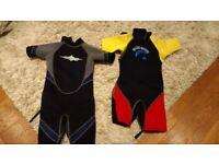 Two children's shortie westsuits
