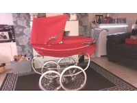 Girls poppy red coach built silver cross pram