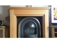 Oak fire surround+ cast iron backplate