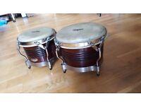 Latin Percussion Matador Wood Bongos - Dark Brown/Chrome
