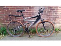 "Full suspension aluminum mountain bike. 24"" wheel, Raleigh, 21 gears £60"