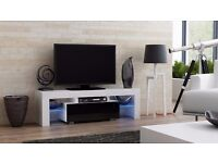 Modern TV Unit 130cm Cabinet Stand White Matt & Black High Gloss + LED Lights RGB