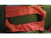 BNIB. Red stiletto heel thigh high boots size 6