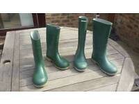 Two pairs of Wellington boots